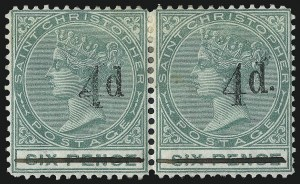 Sale Number 1049, Lot Number 1454, St. Christopher thru St. LuciaST. CHRISTOPHER, 1886, 4p on 6p Green, Without Period (20a; SG 25a), ST. CHRISTOPHER, 1886, 4p on 6p Green, Without Period (20a; SG 25a)