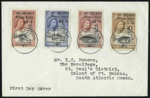 Sale Number 1049, Lot Number 1458, St. Christopher thru St. LuciaST. HELENA, 1961, 2-1/2c + 3d - 10c + 1sh Tristan Relief Fund Overprints (B1-B4; SG 172-175), ST. HELENA, 1961, 2-1/2c + 3d - 10c + 1sh Tristan Relief Fund Overprints (B1-B4; SG 172-175)