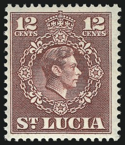 Sale Number 1049, Lot Number 1464, St. Christopher thru St. LuciaST. LUCIA, 1950, 12c Rose Lake, Perf 14-1/2 x 14 (142a; SG 153a), ST. LUCIA, 1950, 12c Rose Lake, Perf 14-1/2 x 14 (142a; SG 153a)