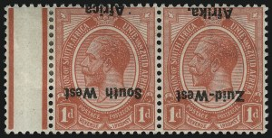 Sale Number 1049, Lot Number 1520, South West Africa thru Straits SettlementsSOUTH WEST AFRICA, 1923, 1p Red, Inverted Overprint (2b; SG 2a), SOUTH WEST AFRICA, 1923, 1p Red, Inverted Overprint (2b; SG 2a)