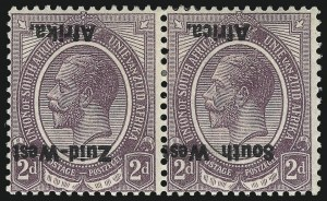 Sale Number 1049, Lot Number 1521, South West Africa thru Straits SettlementsSOUTH WEST AFRICA, 1923, 2p Dull Violet, Inverted Overprint (3b; SG 3a), SOUTH WEST AFRICA, 1923, 2p Dull Violet, Inverted Overprint (3b; SG 3a)