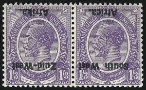 Sale Number 1049, Lot Number 1522, South West Africa thru Straits SettlementsSOUTH WEST AFRICA, 1923, 1sh3p Violet, Inverted Overprint (8b; SG 8a), SOUTH WEST AFRICA, 1923, 1sh3p Violet, Inverted Overprint (8b; SG 8a)