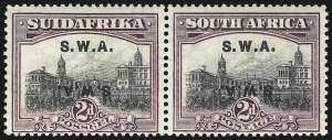 Sale Number 1049, Lot Number 1523, South West Africa thru Straits SettlementsSOUTH WEST AFRICA, 1927, 2p Violet Brown & Gray, Double Overprint, One Inverted (99d; SG 60cb), SOUTH WEST AFRICA, 1927, 2p Violet Brown & Gray, Double Overprint, One Inverted (99d; SG 60cb)
