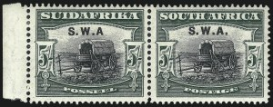 "Sale Number 1049, Lot Number 1524, South West Africa thru Straits SettlementsSOUTH WEST AFRICA, 1923, 5sh Deep Green & Black, Without Period After ""A"" (104c; SG 66a), SOUTH WEST AFRICA, 1923, 5sh Deep Green & Black, Without Period After ""A"" (104c; SG 66a)"