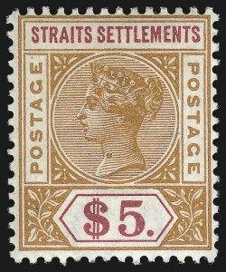 Sale Number 1049, Lot Number 1527, South West Africa thru Straits SettlementsSTRAITS SETTLEMENTS, 1898, $5.00 Orange & Carmine (88; SG 105), STRAITS SETTLEMENTS, 1898, $5.00 Orange & Carmine (88; SG 105)