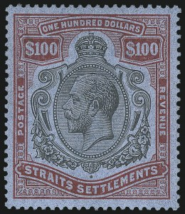 Sale Number 1049, Lot Number 1529, South West Africa thru Straits SettlementsSTRAITS SETTLEMENTS, 1921, $100.00 Red & Black (203; SG 240c), STRAITS SETTLEMENTS, 1921, $100.00 Red & Black (203; SG 240c)