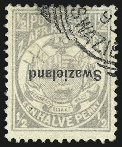 Sale Number 1049, Lot Number 1547, SwazilandSWAZILAND, 1889, -1/2p Gray, Inverted Overprint (1a; SG 4a), SWAZILAND, 1889, -1/2p Gray, Inverted Overprint (1a; SG 4a)