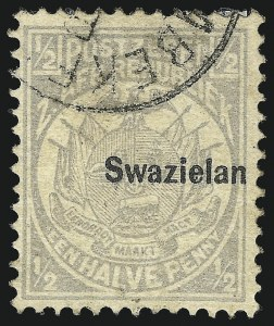 "Sale Number 1049, Lot Number 1548, SwazilandSWAZILAND, 1889, -1/2p Gray, ""d"" Omitted (1b; SG 4b), SWAZILAND, 1889, -1/2p Gray, ""d"" Omitted (1b; SG 4b)"