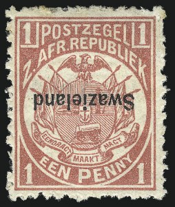 Sale Number 1049, Lot Number 1549, SwazilandSWAZILAND, 1889, 1p Rose, Inverted Overprint (2a; SG 1a), SWAZILAND, 1889, 1p Rose, Inverted Overprint (2a; SG 1a)