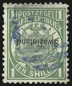 Sale Number 1049, Lot Number 1551, SwazilandSWAZILAND, 1889, 1sh Green, Inverted Overprint (5a; SG 3a), SWAZILAND, 1889, 1sh Green, Inverted Overprint (5a; SG 3a)