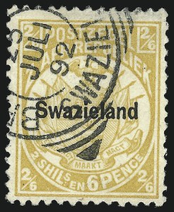 Sale Number 1049, Lot Number 1552, SwazilandSWAZILAND, 1889, 2sh6p Yellow (6; SG 7), SWAZILAND, 1889, 2sh6p Yellow (6; SG 7)