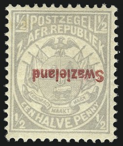 Sale Number 1049, Lot Number 1553, SwazilandSWAZILAND, 1892, -1/2p Gray, Inverted Overprint (9a; SG 10a), SWAZILAND, 1892, -1/2p Gray, Inverted Overprint (9a; SG 10a)