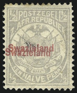 Sale Number 1049, Lot Number 1554, SwazilandSWAZILAND, 1892, -1/2p Gray, Double Overprint (9b; SG 10b), SWAZILAND, 1892, -1/2p Gray, Double Overprint (9b; SG 10b)
