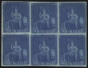 Sale Number 1049, Lot Number 1588, TrinidadTRINIDAD, 1852, (1p) Deep Blue, Deeply Blued Paper (3a; SG 4), TRINIDAD, 1852, (1p) Deep Blue, Deeply Blued Paper (3a; SG 4)