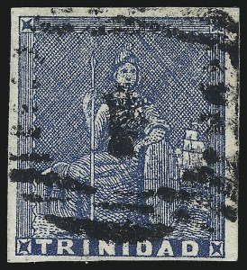 Sale Number 1049, Lot Number 1589, TrinidadTRINIDAD, 1852, (1p) Blue, Fine Impression on White Paper (9b; SG 13), TRINIDAD, 1852, (1p) Blue, Fine Impression on White Paper (9b; SG 13)
