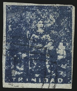 Sale Number 1049, Lot Number 1590, TrinidadTRINIDAD, 1858, (1p) Greenish Blue (12a; SG 17), TRINIDAD, 1858, (1p) Greenish Blue (12a; SG 17)