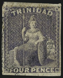 Sale Number 1049, Lot Number 1591, TrinidadTRINIDAD, 1859, 4p Dull Purple, Pin-Perf 12-1/2 (19a; SG 34), TRINIDAD, 1859, 4p Dull Purple, Pin-Perf 12-1/2 (19a; SG 34)