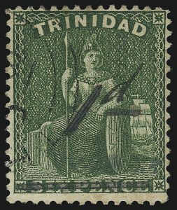 Sale Number 1049, Lot Number 1594, TrinidadTRINIDAD, 1882, 1p Manuscript Surcharge on 6p Green, Black Surcharge (67b; SG 103), TRINIDAD, 1882, 1p Manuscript Surcharge on 6p Green, Black Surcharge (67b; SG 103)