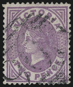 Sale Number 1049, Lot Number 1645, Victoria thru Western AustraliaVICTORIA, 1878, 2p Violet on Lilac (137A; SG 198), VICTORIA, 1878, 2p Violet on Lilac (137A; SG 198)
