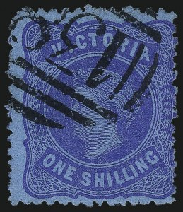 "Sale Number 1049, Lot Number 1646, Victoria thru Western AustraliaVICTORIA, 1885, 1sh Blue on Blue, with Blue ""Stamp Duty"" Overprint (156A; SG 306b), VICTORIA, 1885, 1sh Blue on Blue, with Blue ""Stamp Duty"" Overprint (156A; SG 306b)"