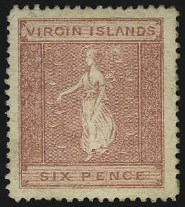 Sale Number 1049, Lot Number 1648, Victoria thru Western AustraliaVIRGIN ISLANDS, 1868, 6p Rose on Toned Paper (6a; SG 13), VIRGIN ISLANDS, 1868, 6p Rose on Toned Paper (6a; SG 13)