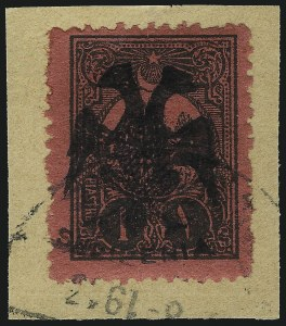 Sale Number 1049, Lot Number 1673, Afghanistan thru AngolaALBANIA, 1913, 1pi Black on Deep Rose, Postage Due with Double Eagle Overprint (18; Michel 15), ALBANIA, 1913, 1pi Black on Deep Rose, Postage Due with Double Eagle Overprint (18; Michel 15)