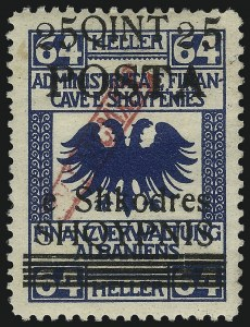 Sale Number 1049, Lot Number 1675, Afghanistan thru AngolaALBANIA, 1919, 25q on 64h Blue (88; Michel 50Ib), ALBANIA, 1919, 25q on 64h Blue (88; Michel 50Ib)