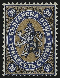 Sale Number 1049, Lot Number 1703, Brazil thru ChileBULGARIA, 1884, 5s (Black) on 30s Blue & Fawn (20A; Michel 22IF), BULGARIA, 1884, 5s (Black) on 30s Blue & Fawn (20A; Michel 22IF)