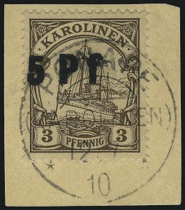 Sale Number 1049, Lot Number 1711, Brazil thru ChileCAROLINE ISLANDS, 1910, 5pf on 3pf Brown, Ponape Provisional (20; Michel 7Pv), CAROLINE ISLANDS, 1910, 5pf on 3pf Brown, Ponape Provisional (20; Michel 7Pv)