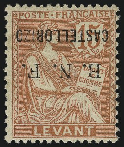 Sale Number 1049, Lot Number 1712, Brazil thru ChileCASTELLORIZO, 1920, 15c Pale Red, Inverted Surcharge (6a; Yvert 6b), CASTELLORIZO, 1920, 15c Pale Red, Inverted Surcharge (6a; Yvert 6b)