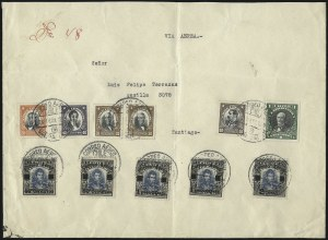 Sale Number 1049, Lot Number 1716, Brazil thru ChileCHILE, 1927, 40c on 10c - 2p on 10c, Air Post Surcharge (C1-5), CHILE, 1927, 40c on 10c - 2p on 10c, Air Post Surcharge (C1-5)