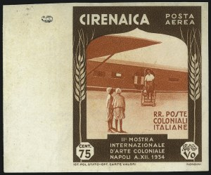 Sale Number 1049, Lot Number 1739, Corfu thru CzechoslovakiaCYRENAICA, 1934, 75c Dark Brown and Orange Red, Air Post, Imperforate (C26a; Sassone A26a), CYRENAICA, 1934, 75c Dark Brown and Orange Red, Air Post, Imperforate (C26a; Sassone A26a)