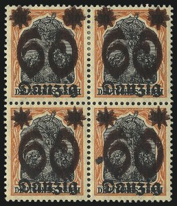 Sale Number 1049, Lot Number 1749, Dahomey thru DanzigDANZIG, 1920, 60pf on 30pf Orange & Block on Buff, Double Surcharge (22a; Michel 19DDI), DANZIG, 1920, 60pf on 30pf Orange & Block on Buff, Double Surcharge (22a; Michel 19DDI)
