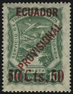 "Sale Number 1049, Lot Number 1767, Eastern Rumelia thru EgyptECUADOR, 1928, 50 ""Cts."" on 10c Green, Air Post (C6), ECUADOR, 1928, 50 ""Cts."" on 10c Green, Air Post (C6)"