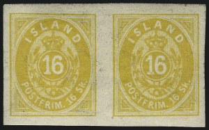 Sale Number 1049, Lot Number 1904, Iceland thru IranICELAND, 1873, 16s Yellow, Imperforate (4a; FAcit 4v²), ICELAND, 1873, 16s Yellow, Imperforate (4a; FAcit 4v²)
