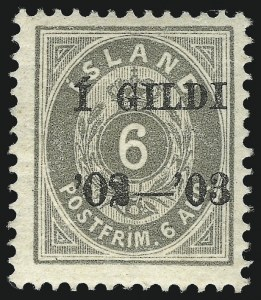 Sale Number 1049, Lot Number 1908, Iceland thru IranICELAND, 1902-03, 6a Gray, Black Overprint (53; Facit 52), ICELAND, 1902-03, 6a Gray, Black Overprint (53; Facit 52)