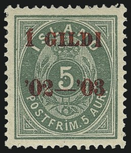 Sale Number 1049, Lot Number 1909, Iceland thru IranICELAND, 1902-03, 5a Green, Red Overprint (60; Facit 45), ICELAND, 1902-03, 5a Green, Red Overprint (60; Facit 45)