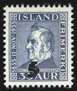 Sale Number 1049, Lot Number 1918, Iceland thru IranICELAND, 1939, 5a on 35a Blue, Double Surcharge (212a; Facit 216v±), ICELAND, 1939, 5a on 35a Blue, Double Surcharge (212a; Facit 216v±)