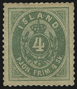 Sale Number 1049, Lot Number 1921, Iceland thru IranICELAND, 1873, 4s Green, Official (O1; Facit Tj1), ICELAND, 1873, 4s Green, Official (O1; Facit Tj1)