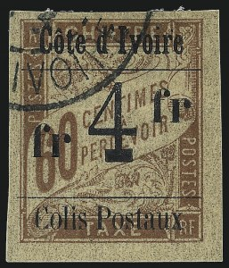 "Sale Number 1049, Lot Number 1942, Italian Area thru JapanIVORY COAST, 1903, 4fr on 60c Brown on Buff, Parcel Post, Type ""l"" Surcharge (Q23; Yvert CP11b), IVORY COAST, 1903, 4fr on 60c Brown on Buff, Parcel Post, Type ""l"" Surcharge (Q23; Yvert CP11b)"