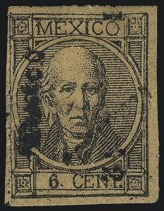 "Sale Number 1049, Lot Number 1995, Mexico MEXICO, 1872, 6c Black on Buff, ""Mexico"" and ""1 72"" Ovpt. (76), MEXICO, 1872, 6c Black on Buff, ""Mexico"" and ""1 72"" Ovpt. (76)"