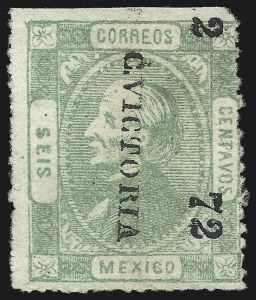 "Sale Number 1049, Lot Number 1996, Mexico MEXICO, 1872, 6c Green, ""C. Victoria"" and ""2 72"" Ovpt. (87), MEXICO, 1872, 6c Green, ""C. Victoria"" and ""2 72"" Ovpt. (87)"