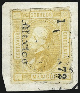 "Sale Number 1049, Lot Number 1997, Mexico MEXICO, 1872, 50c Yellow, ""Mexico"" and ""1 72"" Ovpt. (90), MEXICO, 1872, 50c Yellow, ""Mexico"" and ""1 72"" Ovpt. (90)"