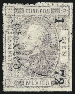 "Sale Number 1049, Lot Number 1998, Mexico MEXICO, 1872, 100c Gray Lilac, ""Mexico"" and ""1 72"" Ovpt. (92), MEXICO, 1872, 100c Gray Lilac, ""Mexico"" and ""1 72"" Ovpt. (92)"