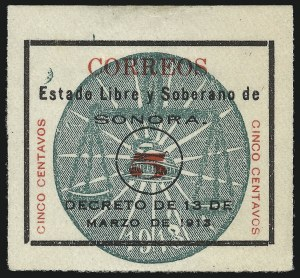 Sale Number 1049, Lot Number 2005, Mexico MEXICO, 1913, 5c Black & Red, Without Embossing and Colorless Roulette (338), MEXICO, 1913, 5c Black & Red, Without Embossing and Colorless Roulette (338)