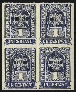 "Sale Number 1049, Lot Number 2006, Mexico MEXICO, 1914, 1c Deep Blue, ""Victoria de Torreon"" Ovpt. (362), MEXICO, 1914, 1c Deep Blue, ""Victoria de Torreon"" Ovpt. (362)"