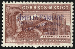 Sale Number 1049, Lot Number 2011, Mexico MEXICO, 1935, 20c Lake, Amelia Earhart Overprint (C74), MEXICO, 1935, 20c Lake, Amelia Earhart Overprint (C74)