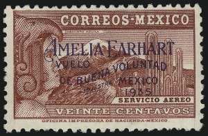 "Sale Number 1049, Lot Number 2012, Mexico MEXICO, 1935, 20c Lake, Amelia Earhart, with ""Muestra"" Overprint (C74S), MEXICO, 1935, 20c Lake, Amelia Earhart, with ""Muestra"" Overprint (C74S)"