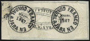 "Sale Number 1049, Lot Number 2020, Mexico MEXICO, GUADALAJARA, 1867, ""Medio"" r Black on White (1), MEXICO, GUADALAJARA, 1867, ""Medio"" r Black on White (1)"