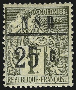 Sale Number 1049, Lot Number 2039, Nossi-BeNOSSI-BE, 1890, 25c on 1fr Bronze Green on Straw (16; Yvert 12), NOSSI-BE, 1890, 25c on 1fr Bronze Green on Straw (16; Yvert 12)
